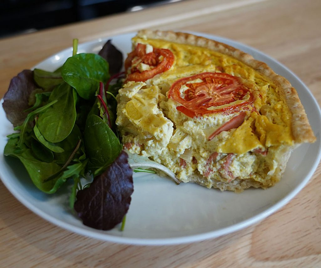 egg free quiche with a side of salad